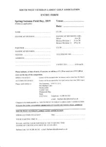 South West Vets Field Days Entry Form