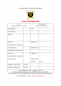 CLCGA Junior Champs Entry Form 2019