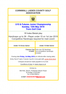 CLCGA U15 & Futures Junior Champs Poster 2019