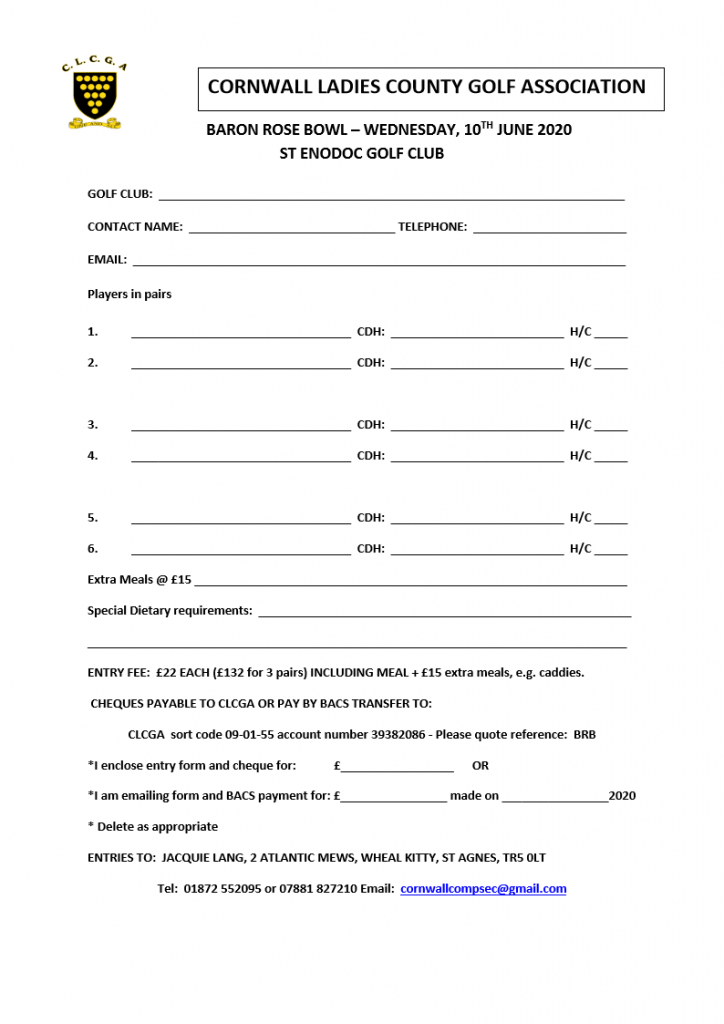 Baron Rose Bowl Entry Form 2020