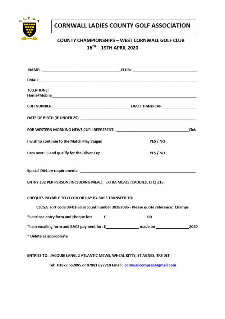 County Championship Entry Form 2020