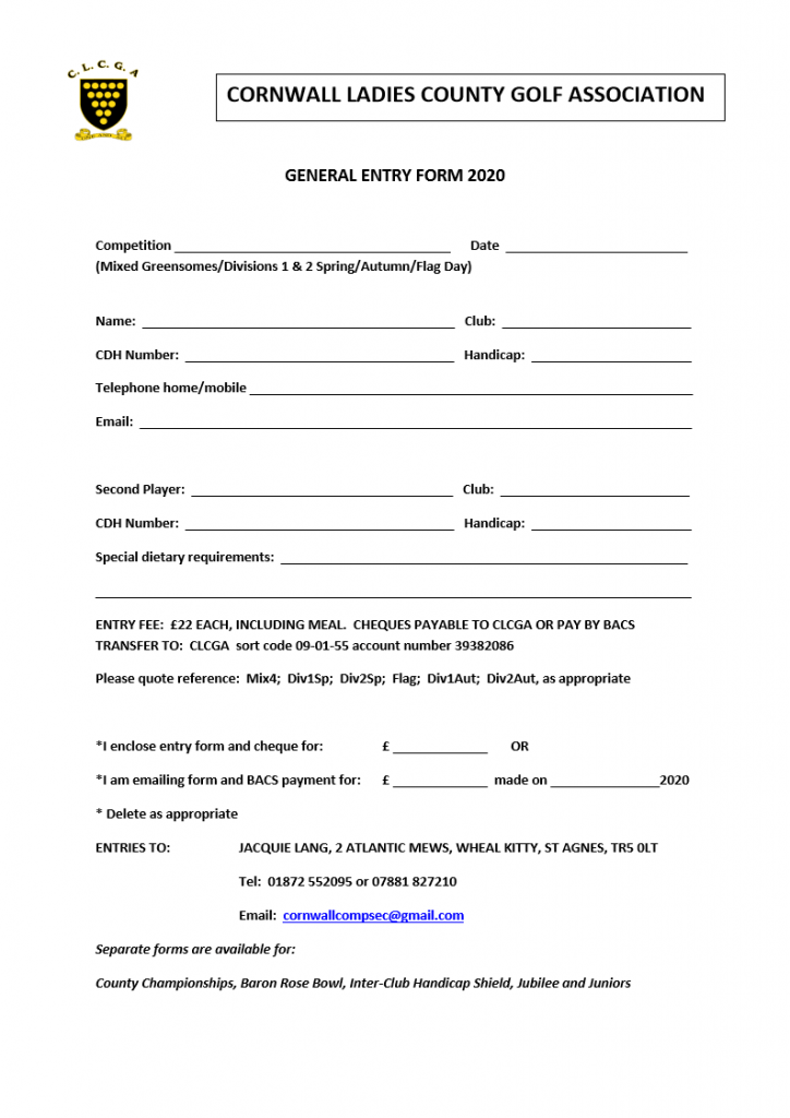 General Entry Form 2020