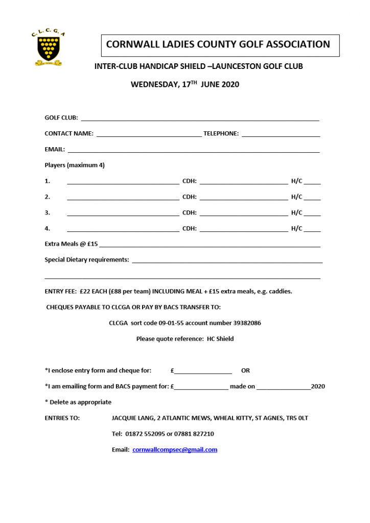 Inter club handicap shield entry form 2020