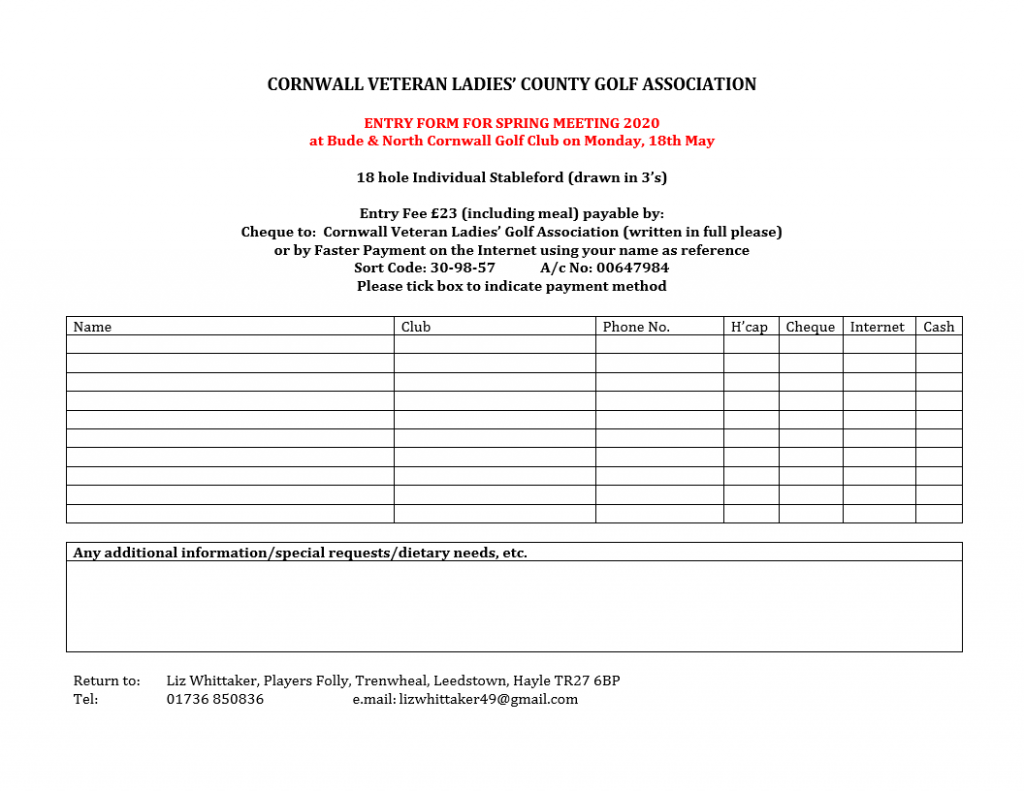 CVLCGA-Spring Mtg Entry Form 2020