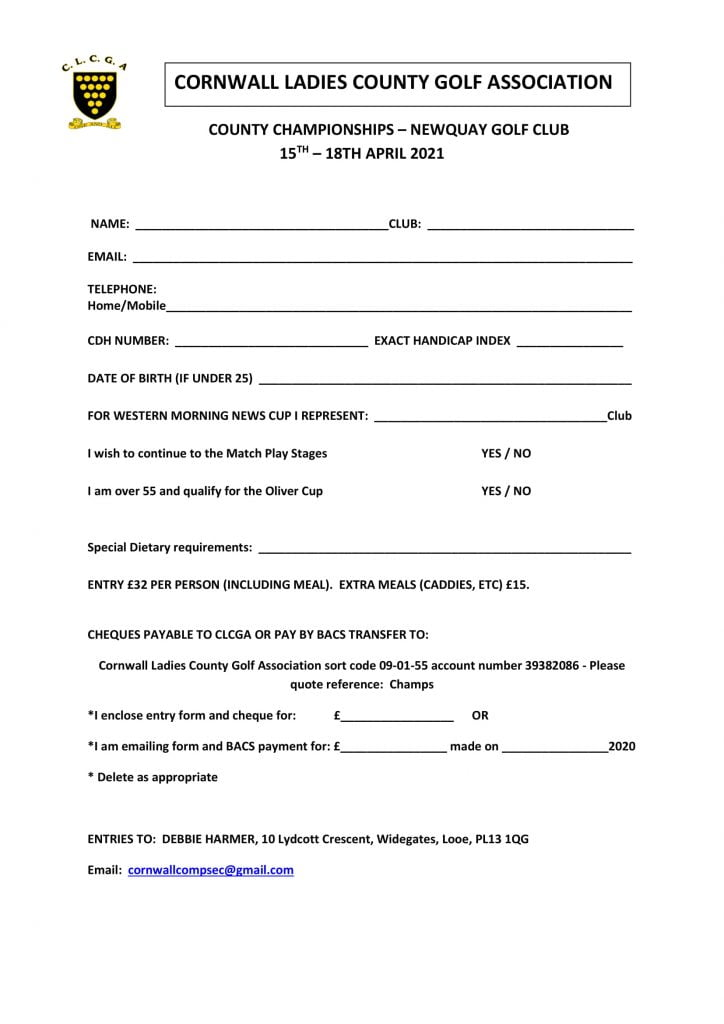 County Championship Entry Form 2021
