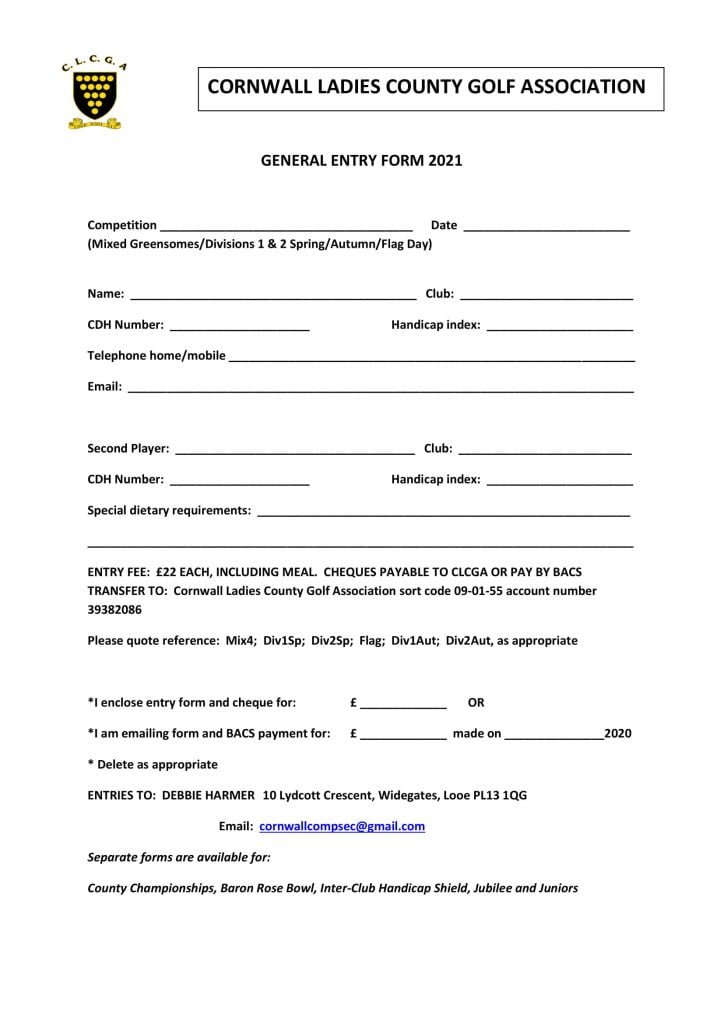 General Entry Form 2021