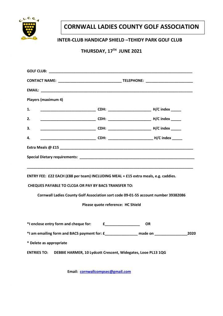 Inter club handicap shield entry form 2021