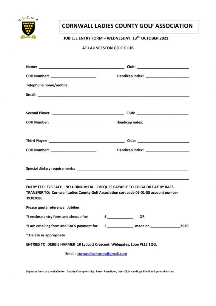 Jubilee Entry Form 2021
